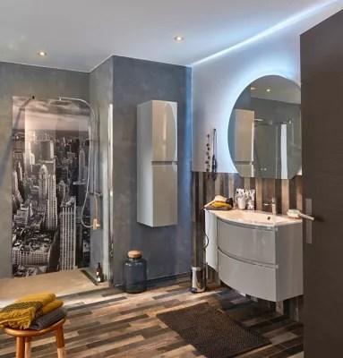 meuble sous vasque cooke lewis gris clair vague 104 cm complement gauche plan vasque en verre