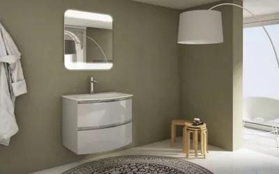 meuble sous vasque cooke lewis gris clair vague 70 cm plan vasque en resine