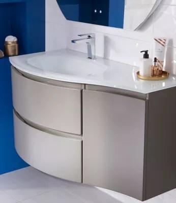 meuble sous vasque cooke lewis taupe vague 104 cm complement droit plan vasque en verre