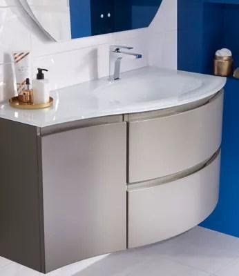 meuble sous vasque cooke lewis taupe vague 104 cm complement gauche plan vasque en verre