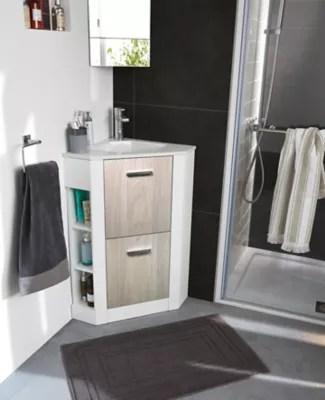 meuble sous vasque en angle cooke lewis waneta aspect bois 46 cm plan vasque en ceramique