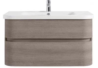 meuble sous vasque a suspendre cooke lewis voluto bois grise version centrale 105 cm plan vasque en resine