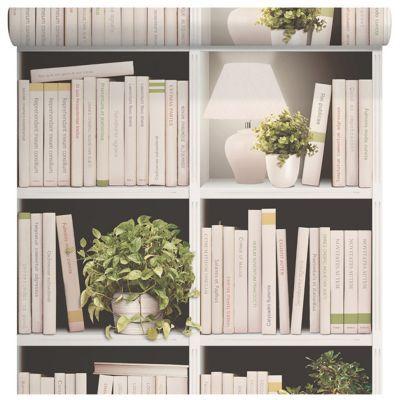 papier peint intisse sur intisse bibliotheque ivoire