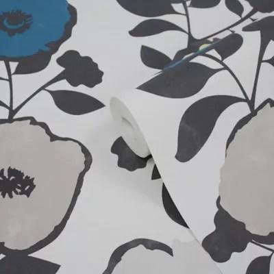 papier peint vinyle sur intisse goodhome luzul bleu et jaune 53 cm