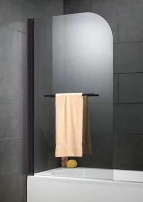 pare baignoire 1 volet profiles noir 140 x 80 cm capri delux