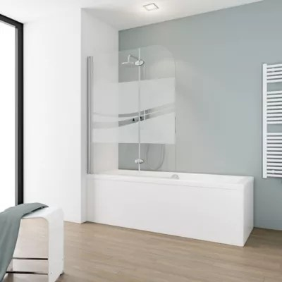 pare baignoire 113 x 140 cm schulte paroi de baignoire 2 volets pivotants verre transparent anticalcaire liane