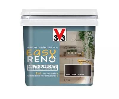 Peinture De Renovation Multi Supports V33 Easy Reno Fonte Metallise 0 75l Castorama