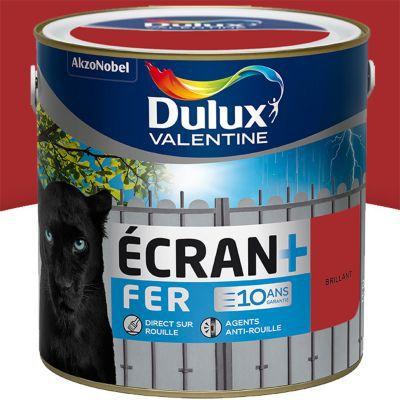 peinture fer antirouille dulux valentine ecran rouge agricole brillant 2l