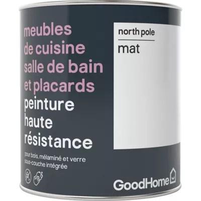 Peinture Haute Resistance Meubles De Cuisine Salle De Bain Et Placards Goodhome Blanc North Pole Mat 0 75l Castorama