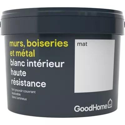 peinture murs boiseries et metal goodhome haute resistance blanc mat 2 5l