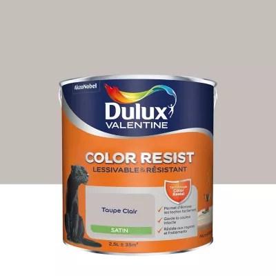 peinture murs et boiseries dulux valentine color resist taupe clair satin 2 5l