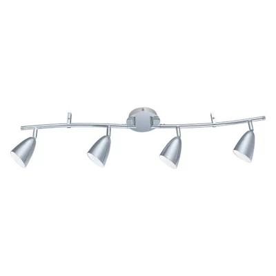 plafonnier arc 4 spots led jidda metal chrome l 83cm 3 3w
