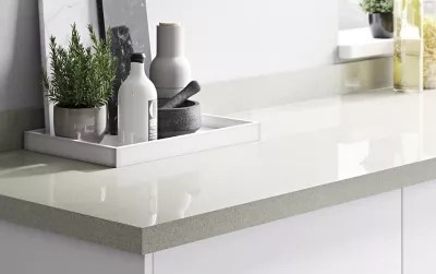 plan de travail en stratifie blanc paillete goodhome berberis 300 cm x 62 cm x ep 3 8 cm