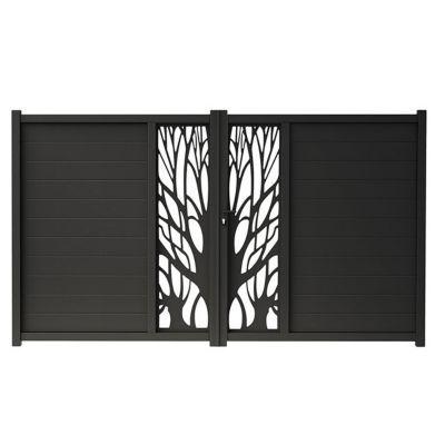 Portail Aluminium Blooma Idaho Noir 9017 300 X H 176 Cm Castorama