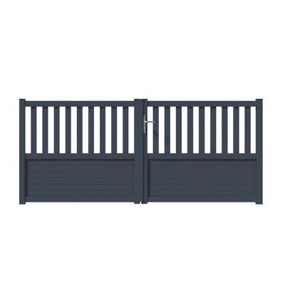Portail Aluminium Gironde Gris 7016 Sable 350 X H 131 Cm Castorama