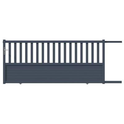 Portail Coulissant Aluminium Gironde Gris 7016 Sable 400 X H 130 Cm Castorama