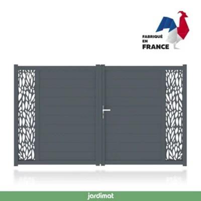 portail jardimat aluminium neva 3 gris 7021 300 x h 180 cm