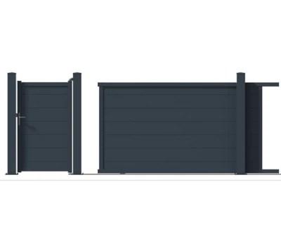 Portail Jardimat Coulissant Motorise Aluminium Lyon Gris 350 X H 170 Cm Castorama