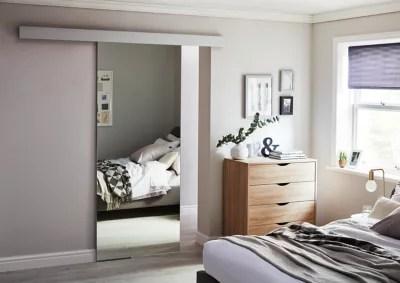 porte coulissante vitree reflecto miroir h 204 x l 83 cm