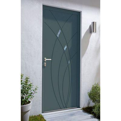 porte d entree aluminium 4 alu zoe gris 90 x h 215 cm poussant droit