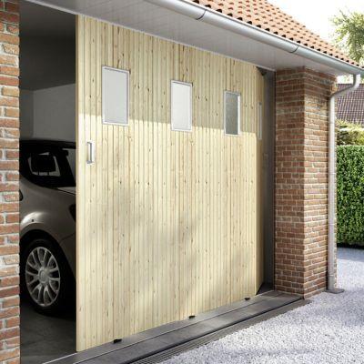 Porte De Garage Coulissante Sapin Hublots L 240 X H 200 Cm En Kit Castorama