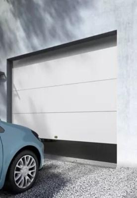 Porte De Garage Sectionnelle Motorisee Blanc L 240 X H 200 Cm En Kit 2 Telecommandes Castorama