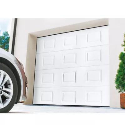 Porte De Garage Sectionnelle Motorisee Turia Blanc L 240 X H 200 Cm En Kit Castorama