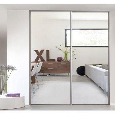 porte de placard coulissante miroir argent form valla 92 2 x 245 6 cm