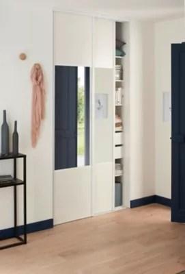 Porte De Placard Coulissante Structuree Miroir Blanc Form Valla 62 2 X 245 6 Cm Castorama