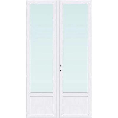 Porte Fenetre Pvc 2 Vantaux Tirant Droit Blanc 120 X H 215 Cm Uw 1 2 Castorama