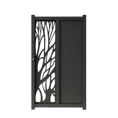 portillon aluminium blooma idaho noir 9017 100 x h 176 cm