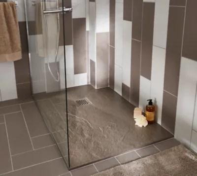receveur de douche a poser recoupable resine taupe cooke lewis piro 80 x 120 cm