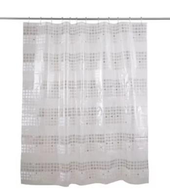 rideau de douche plastique peva blanc decor argent 180 x 200 cm nakina
