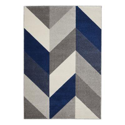 tapis chevrons gris bleu et blanc 160 x 230 cm