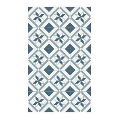 tapis vinyle carreaux ciment bleu et blanc 49 5 x 83 cm