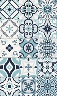 tapis vinyle carreaux de ciment bleu 49 5 x 83 cm