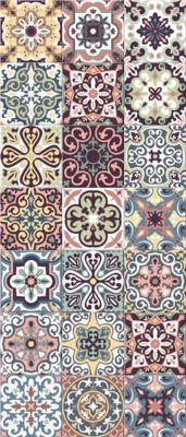 tapis vinyle carreaux de ciment multicolore 49 5 x 116 cm