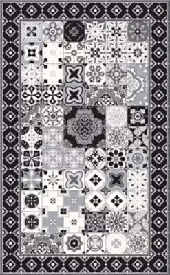tapis vinyle carreaux de ciment noir et blanc 49 5 x 83 cm