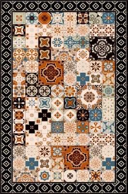 tapis vinyle carreaux de ciment orange 98 x 148 5 cm