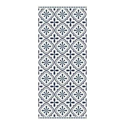 tapis vinyle carreaux motif ciment noir et blanc 49 5 x 116 cm