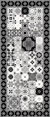 tapis vinyle petits carreaux de ciment noir et blanc 49 5 x 116 cm