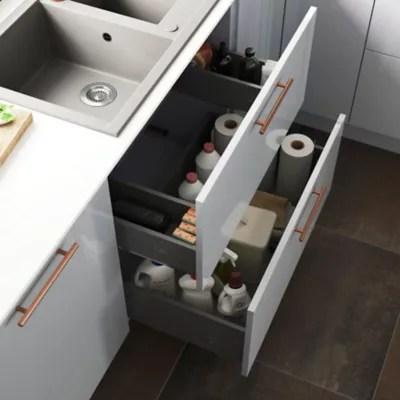 tiroir de meuble de cuisine sous evier goodhome soto anthracite l 100 cm