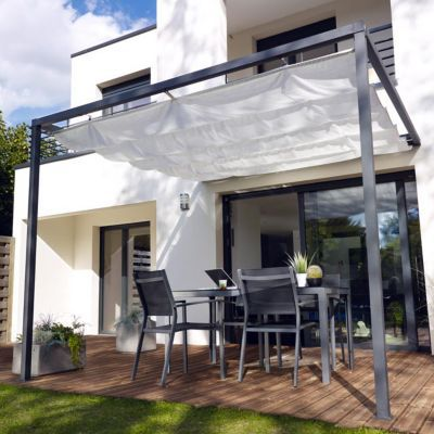 tonnelle adossee blooma clipperton 2 95 x 2 95 m blanche