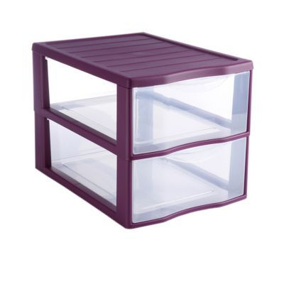 tour de rangement 2 tiroirs en plastique klic coloris violet
