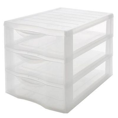 tour de rangement 3 tiroirs en plastique klic