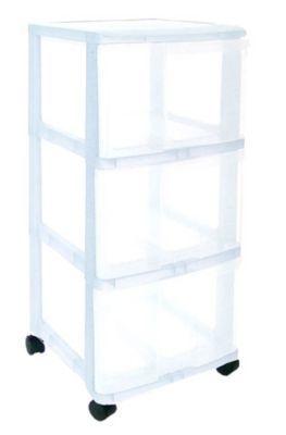 tour de rangement 3 tiroirs en plastique wave transparente