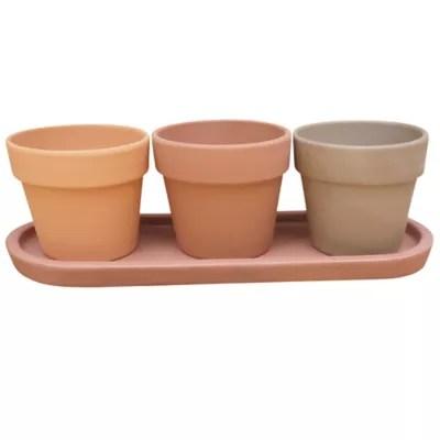 trio de pots pour plantes aromatiques terre cuite o9 cm