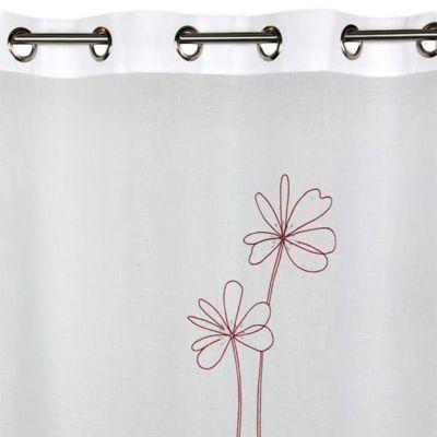 voilage l envol du decor flora rouge gris 140 x 260 cm