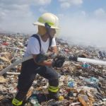 Fire fighters douse small landfill blaze