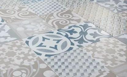 Sol Vinyle Senso Adhesive Dalle Aspect Carreau De Ciment Bleu Dalle 30 5 X 60 9 Cm Saint Maclou
